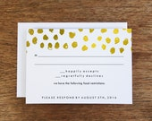 Printable RSVP Card - Response Card Download - Instant Download - RSVP Template -  Gold Dots - Gold Dot Response Card - Black and Gold