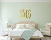 Monogram Wall Decal - Vinyl Wall Sticker Decal Indoor Decor Decoration -  White, Black, Red, Orange, Blue, Green, Gold, Silver - artstudio54