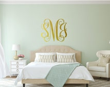 Monogram Wall Decal - Vinyl Wall Sticker Decal Indoor Decor Decoration -  White, Black, Red, Orange, Blue, Green, Gold, Silver - artstudio54