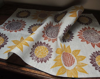 Harvest Sunflowers kitchen decor hand block printed farmhouse wedding natural gray linen tea towel