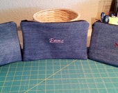 JEAN PENCIL CASE / Jean Bag / Boys, Girls Personalized Case / School Supplies / Crayola Case / Gadget Bag / Zipper Pouch / Gift Idea
