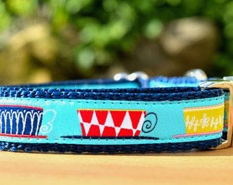 "Tea Cup Dog Collar / 3/4"" wide Coffee Cup Collar for Dogs in Extra-Small, Small, Medium, or Large / Australian Made Dog Collar"