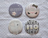 """Pastel Cute Buttons (Single or Set) 2.25"""" quirky cute kawaii offensive text tumblr deer fawn pastel goth angry snarky witty badge pin brooch"""