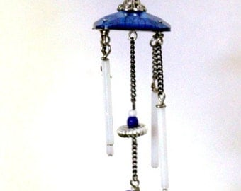 SALE-wind chimes-Blue heart-Blue and white-Wind chime in miniature-Hand made-1:12 scale-Secret Garden wind chimes