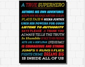 A True Superhero Is Inside All Of Us, Superhero Rules, INSTANT DOWNLOAD, Superhero Decor, Superhero Classroom, Boys Superhero