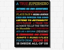 A True Superhero Is Inside All Of Us, Superhero Rules, INSTANT DOWNLOAD, Superhero Decor, Superhero Classroom, Boys Superhero