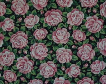 Colorshop by V.I.P Cranston Pink Roses on Black 1 2/3 Yards