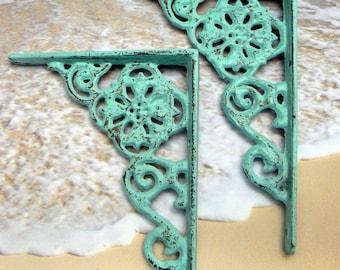 Shelf Bracket Cast Iron Floral Brace Shabby Chic Beach Blue Pair for Home Improvement