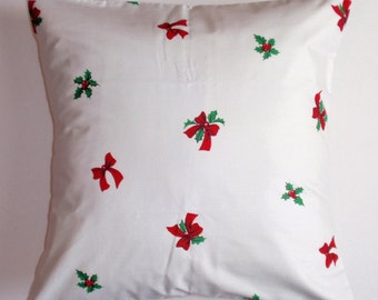 """CHRISTMAS Throw Pillow Cover, VINTAGE Fabric, Poinsettia Holly & Bows Pillow Cover, Christmas Floral Decor, 16x16"""" Square - LAST One"""