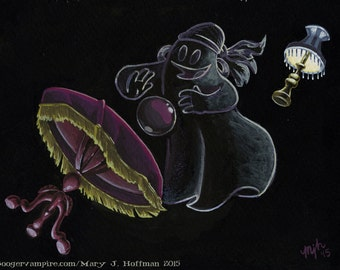 Ghost #2 - Rap on a Table - Archival Digital Print - Haunted Mansion Ghost conducting Seance
