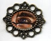 Commission your own Lover's Eye portrait necklace portrait- oil on metal custom piece