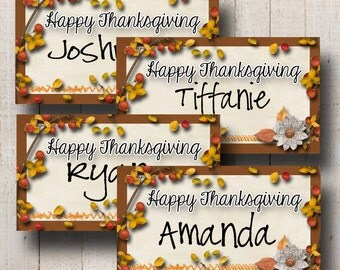 Thanksgiving Placecards- Fall Berries- 10 Printable Tags- Instant Download