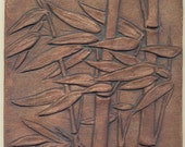 """Asian style Windblown Bamboo Tile -  6"""" square in Reddish Brown Stain"""