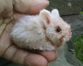 Miniature  Tan Silk Bunny Rabbit   Artist OOAK Alpaca Needle Felted Sculpture