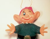 This Creepy Thing Vintage Christmas Ornament Disney Dopey Seven Dwarves Snow White Felt Flocked