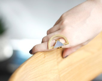 Triangle Chalcedony Ring-Gold Plated Brass