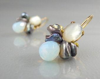 Pearl Earrings, Gemstone Earrings, Dangle Earrings, Drop Earrings, Mother of Pearl Earrings, Gemstone Jewelry, Gift for Her