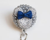 Minnie Mouse Light Silver Silhouette On Gray ID Badge Reel - Retractable ID Badge Holder - Zipperedheart