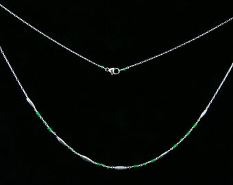 "Jade glass Morse Code necklace ""Kinky"", Secret message necklace"