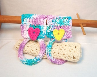 Kitchen Towel Holders. Cotton, towel rings, variety of colors, heart appliques, sturdy, home helper. Pick your 2pk.