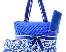 Personalized Royal Damask Diaper Bag /Tote 3 Piece