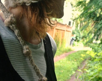 handknit slouchy hat art yarn natural alpaca hemp forest fantasy hat -  quiet mind