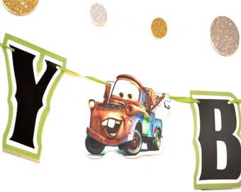 Cars BIRTHDAY Banner, Mater Banner, Cars Birthday Party Banner, Cars Party, Cars Birthday Garland, Cars Birthday Party Decor, HAPPY BIRTHDAY