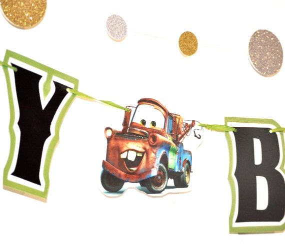 Cars BIRTHDAY Banner, Mater Banner, Cars Birthday Party Banner, Cars Party, Cars Birthday Garland, Cars Birthday Party Decor, HAPPY BIRTHDAY