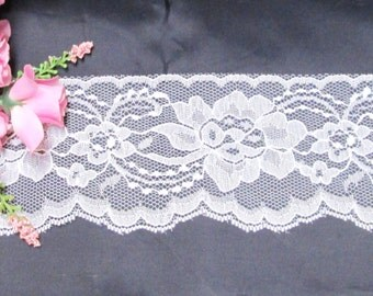 "Wide Flat White Lace 3.5"" Inch Trim Lace 5-25 yds Sewing, Wedding Decor Burlap Embellishment Gift Wrap Favor Ties Banner Streamers Floral"