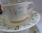 Cathay Taylor Smith and Taylor Taylorstone Coffee Cup and Saucer Set 2 Sets Vintage Mid Century Serving Entertaining