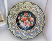 Vintage Made In England Floral Tin Candy Tin Button Tin Sewing Tin Round 8 inch Decorative Tin