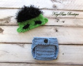 Avengers Incredible Hulk Inspired Newborn to Three Month Old Baby Crochet Hat and Diaper Cover Set Green