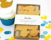 Glitter Cupcake Toppers - Large Yellow Rubber Ducky - Set of 12