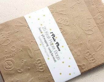 Alice in Wonderland Embossed Kraft Paper Bags - Weddings, Showers, birthdays - LARGE