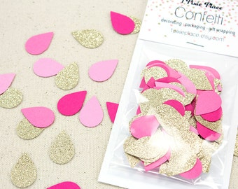 Pink and Gold Rain Drop Glitter Confetti - 100 pieces - Baby and Bridal Showers, Table confetti, Party Decorations