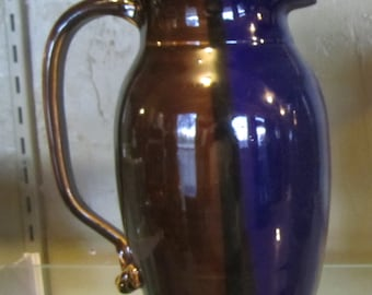 Cobalt Blue and Brown Pottery Pitcher