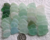 42 Natural Sea Glass Dangles Centre Drilled 1.5mm holes Imperfections Supplies (1643)
