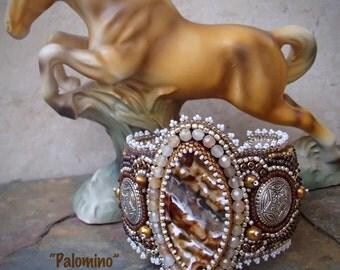 Palomino - Bead Embroidery Bead Woven Cuff Bracelet Seed Bead Jewelry