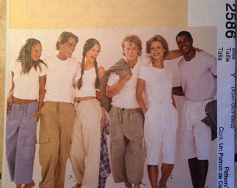 McCall's 2586 Size Ex-Small, Small, Medium Misses', Men's, or Teen Boys' Pants Pattern UNCUT