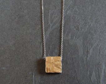 Bronze pendant necklace / rustic pendant / cross pendant / chunky pendant / square pendant / medieval jewelry / unique jewelry / primitive