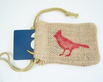 Red Cardinal Burlap Gift Bag, Holiday Bag, Party Favor Bag, Stenciled Bag, Bird Painted Gift Bag, Christmas Gift Card Holder