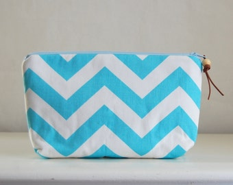 Spa Chevron Wide Padded Zipper Pouch Gadget Case Cosmetics Bag - READY TO SHIP