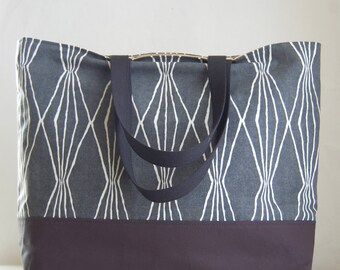 Charcoal Handcut Shapes XL Extra Large BIG Tote Bag / Beach Bag - Ready to Ship