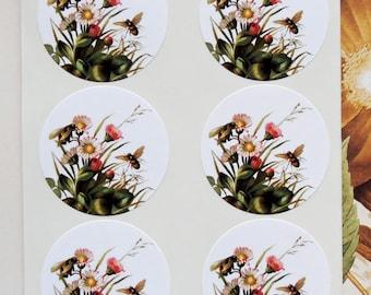 Bee Sticker Flowers Wedding Envelope Seals Party Favor Treat Bag Sticker SP048