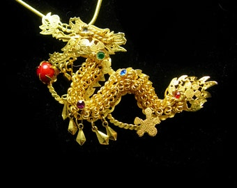 Vintage DRAGON necklace brooch rhinestone Jeweled tassel articulated pendant Filigree mythical creature brooch