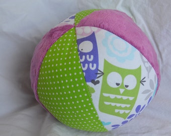 "Forest Life OWLS Cloth Jingle Ball Baby Girl Toy LARGE 7"" with Minky"