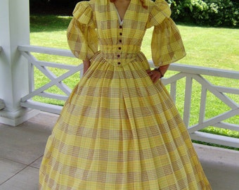 FOR ORDERS ONLY Custom Made 1800s Victorian Dress 1850s 1860s Civil War Summer Day Gown - Picnic Tea Reenactor Costume Theater Bodice Skirt