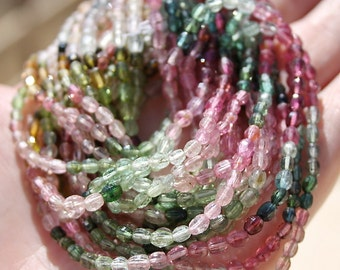 "Bright Colors Pink Green Blue Watermelon AAA Gem Tourmaline Step Cut Tiny Puff Oval Drop Drum Beads 7 1/4"" strand"