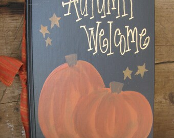 Primitive Autumn Welcome Pumpkins and Stars Night Scene Hand Painted Vintage Book GCC111