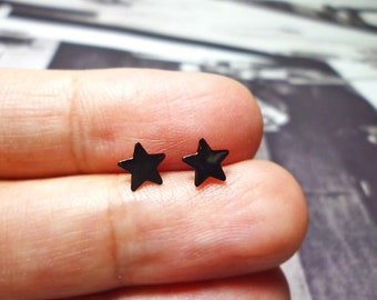 Black Star Stud Earrings, Sterling Silver Star Earrings, Star Stud earrings